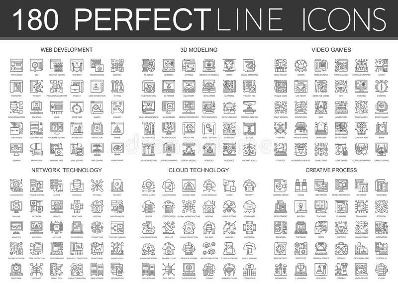 180 outline mini concept infographic symbol icons of web development, 3d modeling, video games, network technology vector illustration