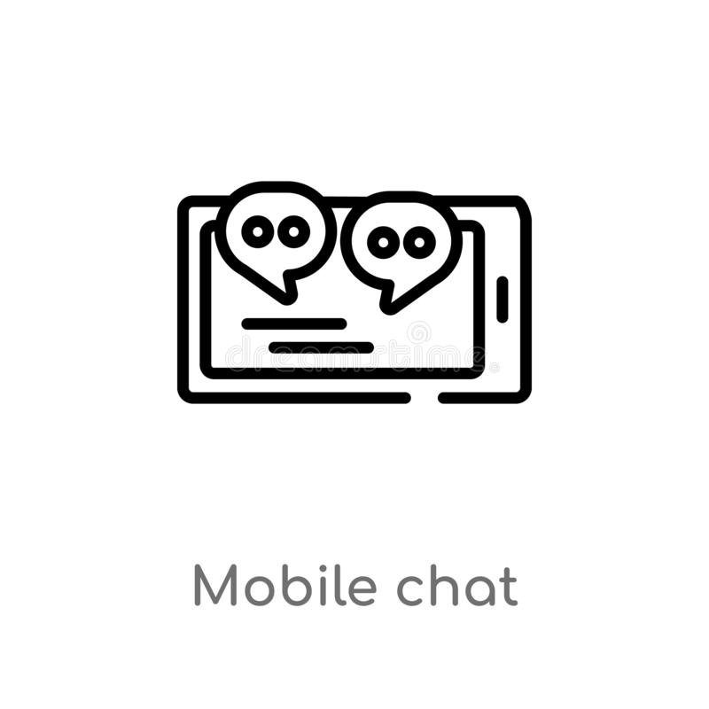 outline mobile chat vector icon. isolated black simple line element illustration from communication concept. editable vector stock illustration