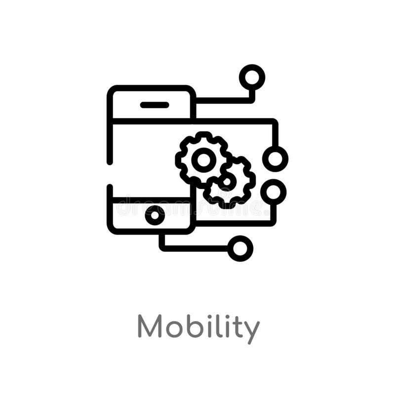 Outline mobility vector icon. isolated black simple line element illustration from smart home concept. editable vector stroke. Mobility icon on white background vector illustration