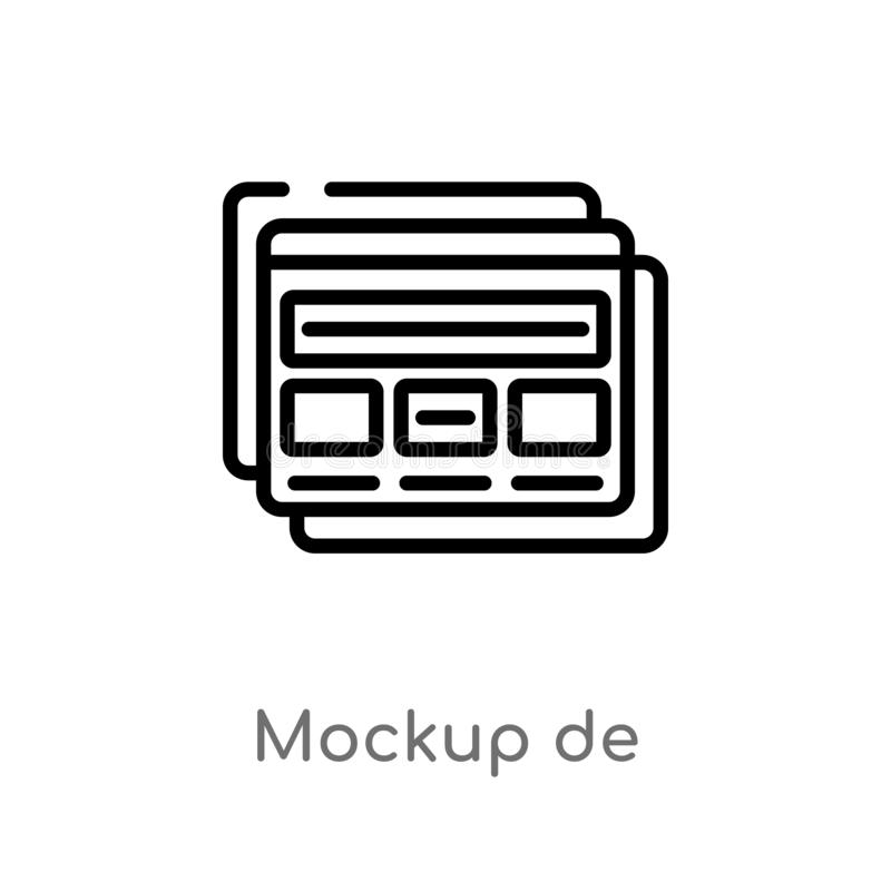 outline mockup de vector icon. isolated black simple line element illustration from web hosting concept. editable vector stroke royalty free illustration