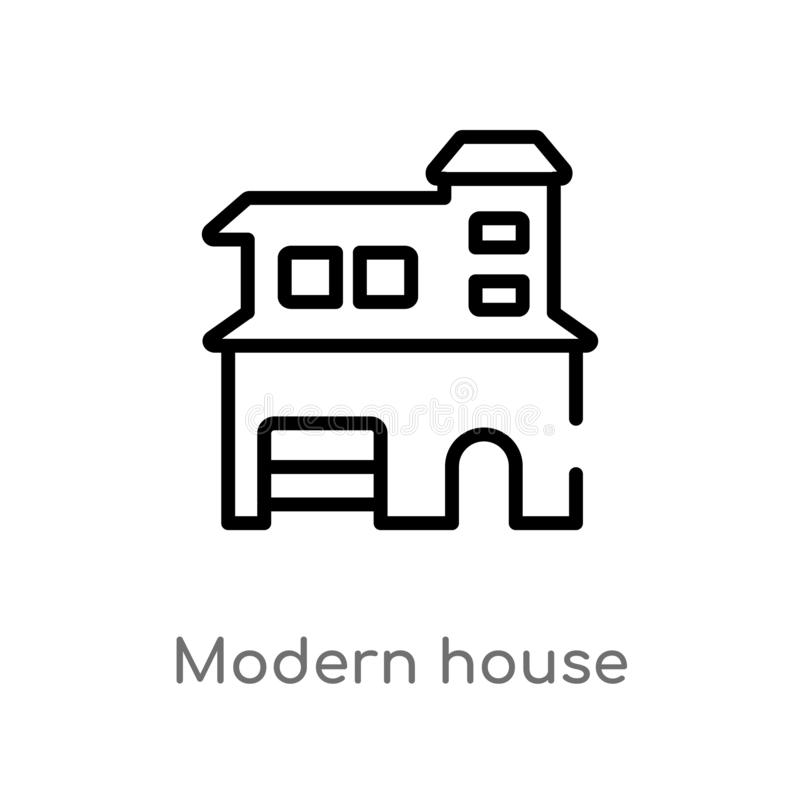 Outline modern house vector icon. isolated black simple line element illustration from real estate concept. editable vector stroke. Modern house icon on white stock illustration