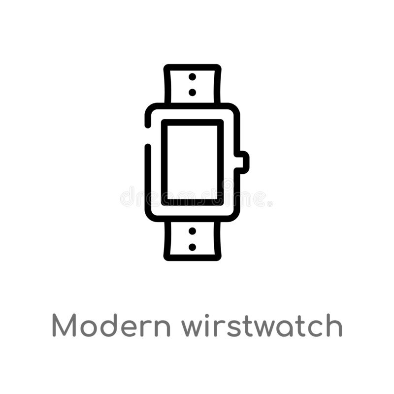 Outline modern wirstwatch vector icon. isolated black simple line element illustration from airport terminal concept. editable. Vector stroke modern wirstwatch royalty free illustration