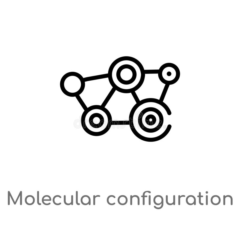 outline molecular configuration vector icon. isolated black simple line element illustration from medical concept. editable vector royalty free illustration