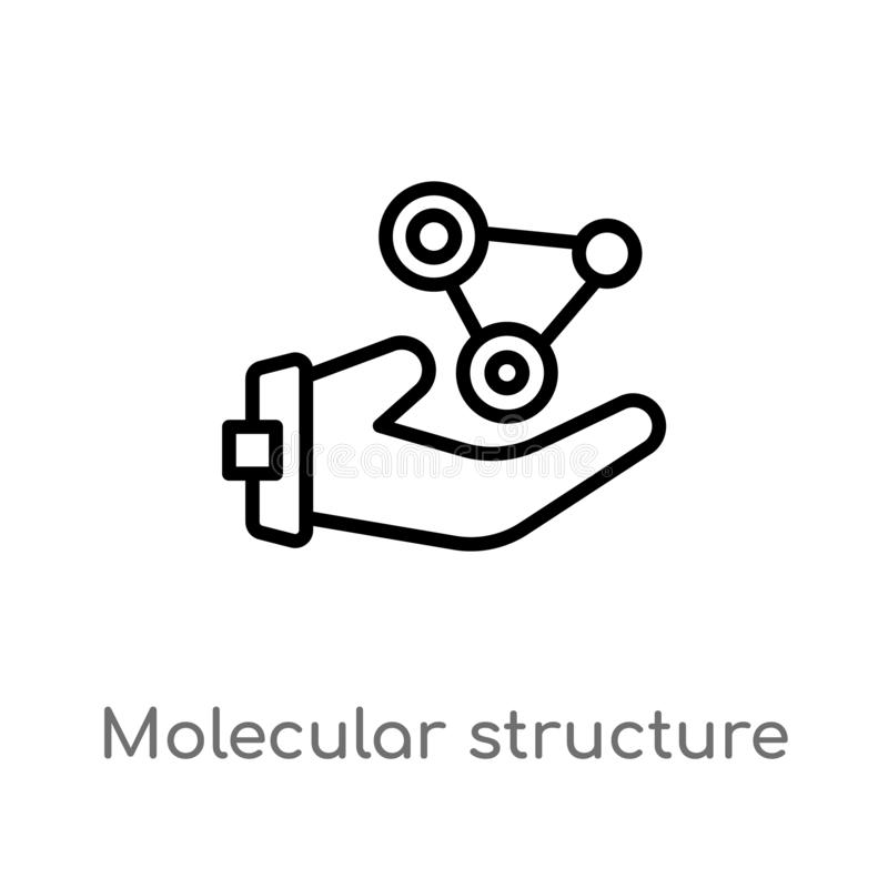 Outline molecular structure vector icon. isolated black simple line element illustration from medical concept. editable vector. Stroke molecular structure icon stock illustration