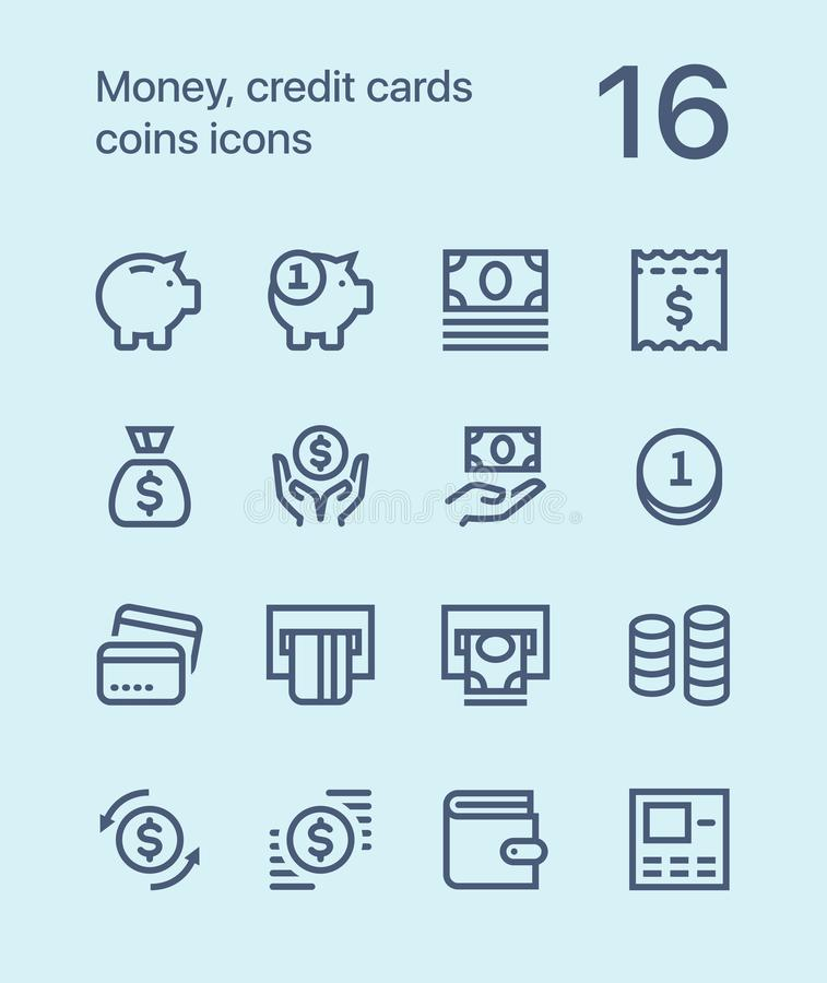 Outline Money, credit cards, coins icons for web and mobile design pack 1 stock photo