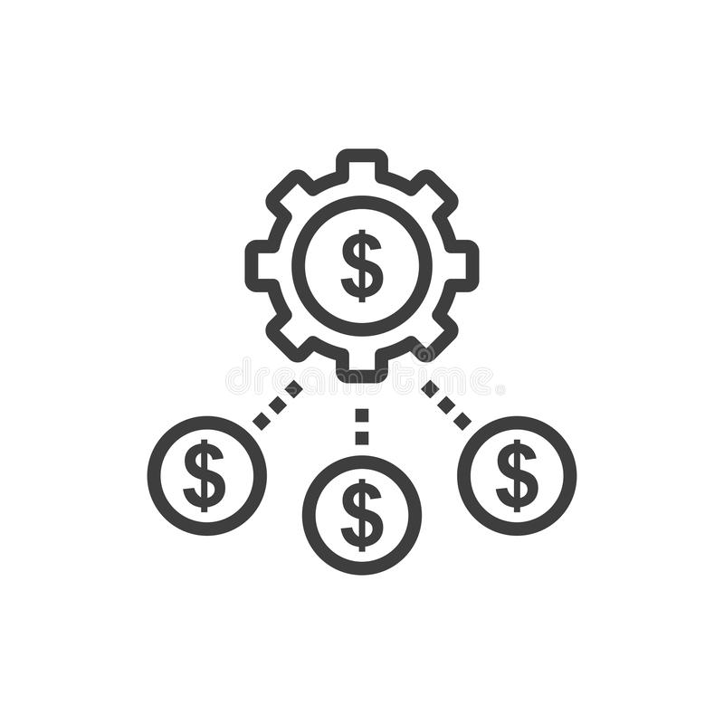 Simple money flow isolated Graphic line vector illustration. editable Style in EPS 10 business concept. Outline money flow graphic vector icon. isolated black stock illustration