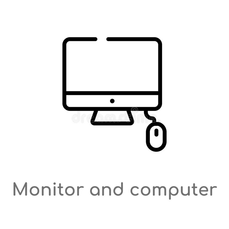 outline monitor and computer mouse vector icon. isolated black simple line element illustration from computer concept. editable vector illustration