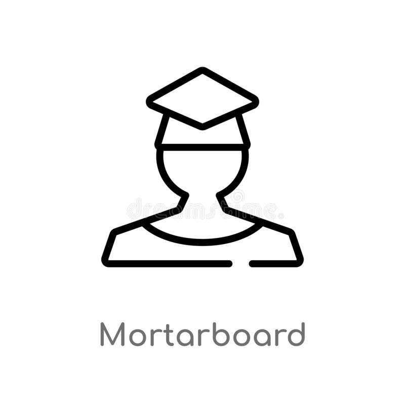 outline mortarboard vector icon. isolated black simple line element illustration from education 2 concept. editable vector stroke vector illustration