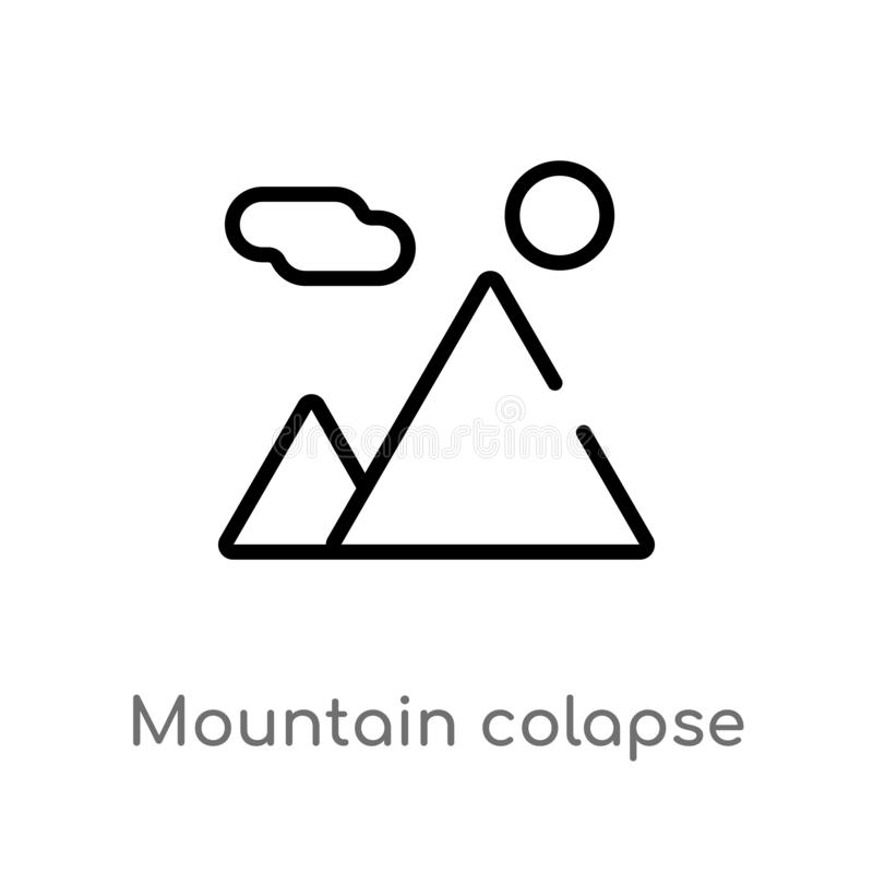 outline mountain colapse vector icon. isolated black simple line element illustration from nature concept. editable vector stroke stock illustration