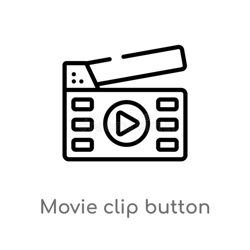 outline movie clip button vector icon. isolated black simple line element illustration from multimedia concept. editable vector stock illustration