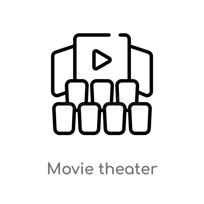 outline movie theater vector icon. isolated black simple line element illustration from cinema concept. editable vector stroke vector illustration