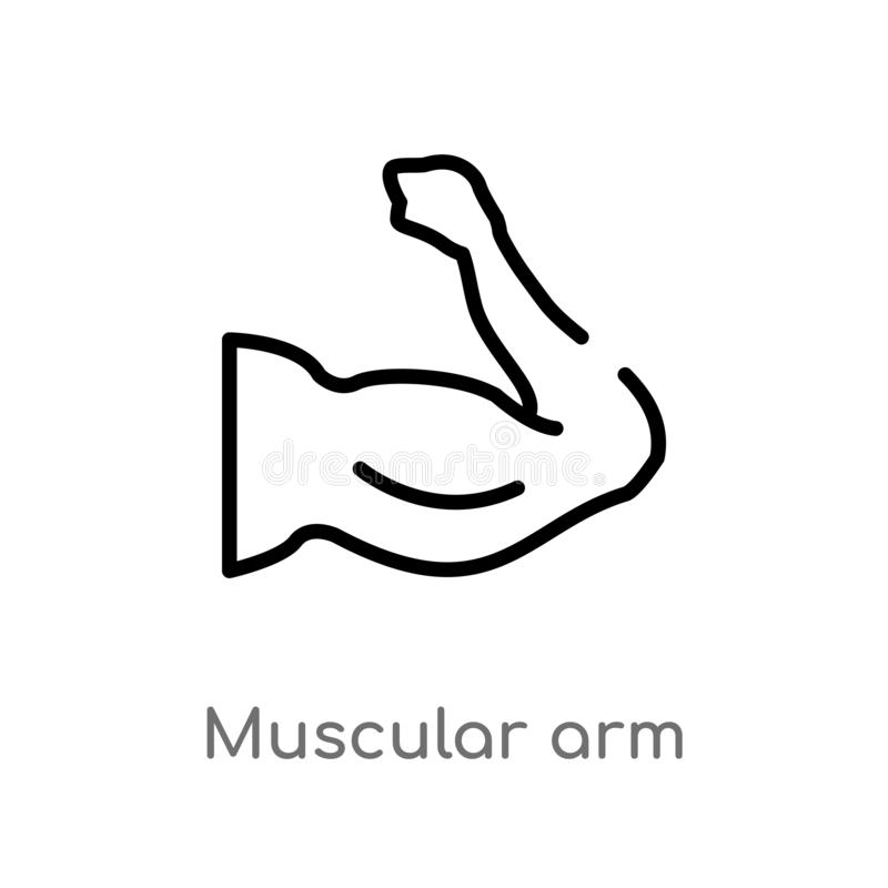 Outline muscular arm vector icon. isolated black simple line element illustration from human body parts concept. editable vector. Stroke muscular arm icon on stock illustration