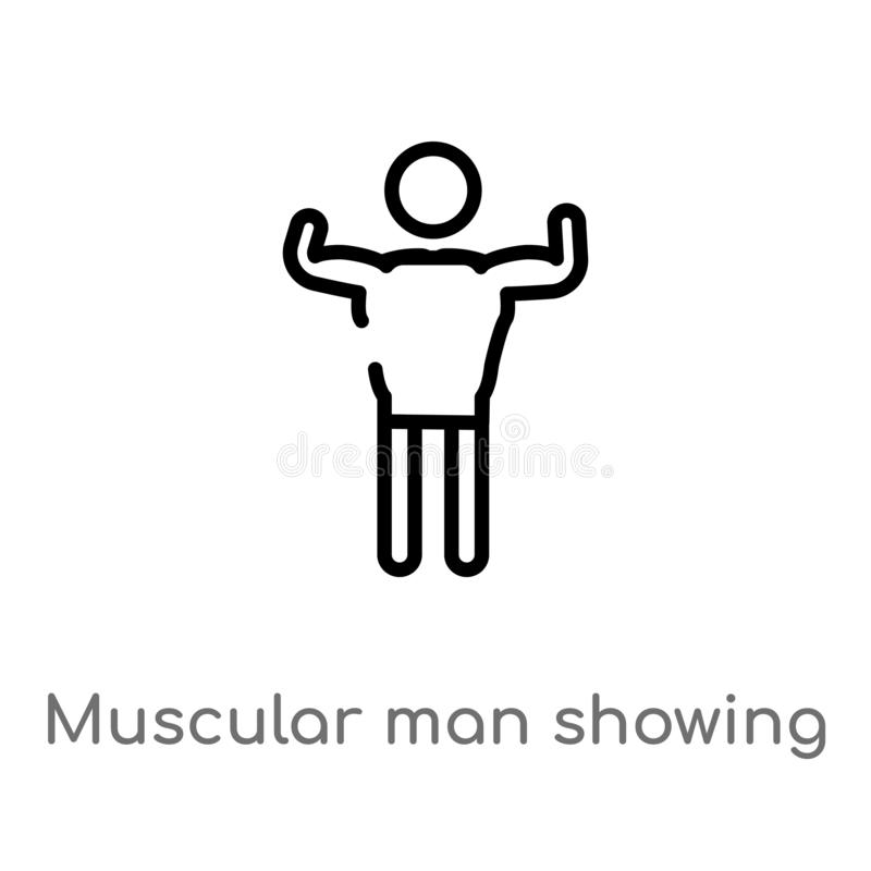 Outline muscular man showing his muscles vector icon. isolated black simple line element illustration from people concept. Editable vector stroke muscular man stock illustration