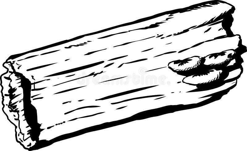 Outline of mushrooms on hollow rotting log. Outline doodle sketch of mushrooms growing on single rotting hollow log over white background stock illustration