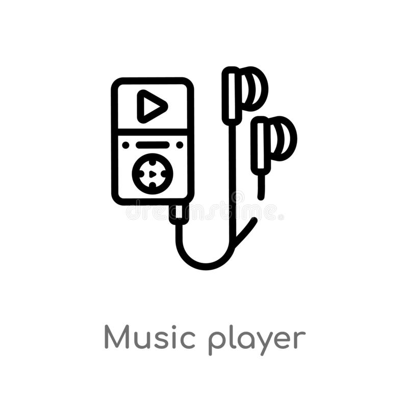 Outline music player vector icon. isolated black simple line element illustration from electronic devices concept. editable vector. Stroke music player icon on royalty free illustration