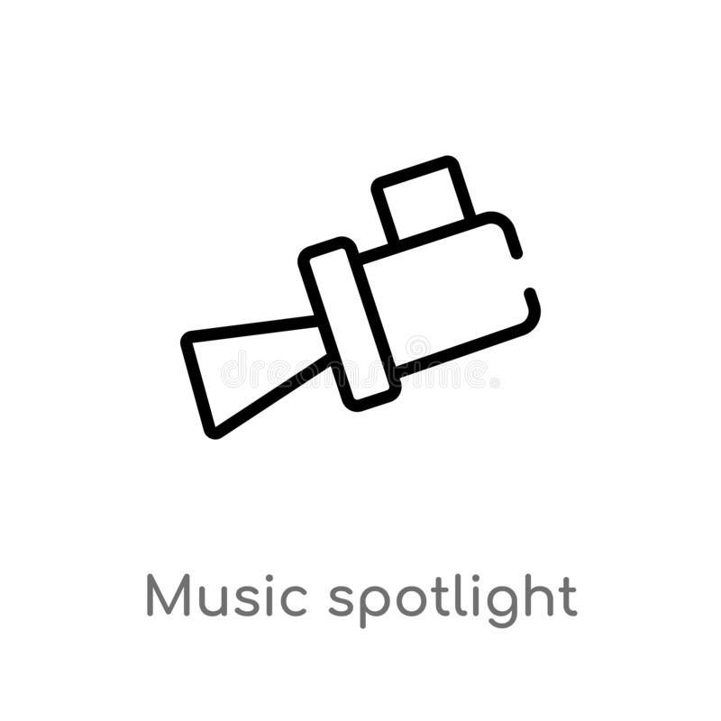 outline music spotlight vector icon. isolated black simple line element illustration from music concept. editable vector stroke vector illustration