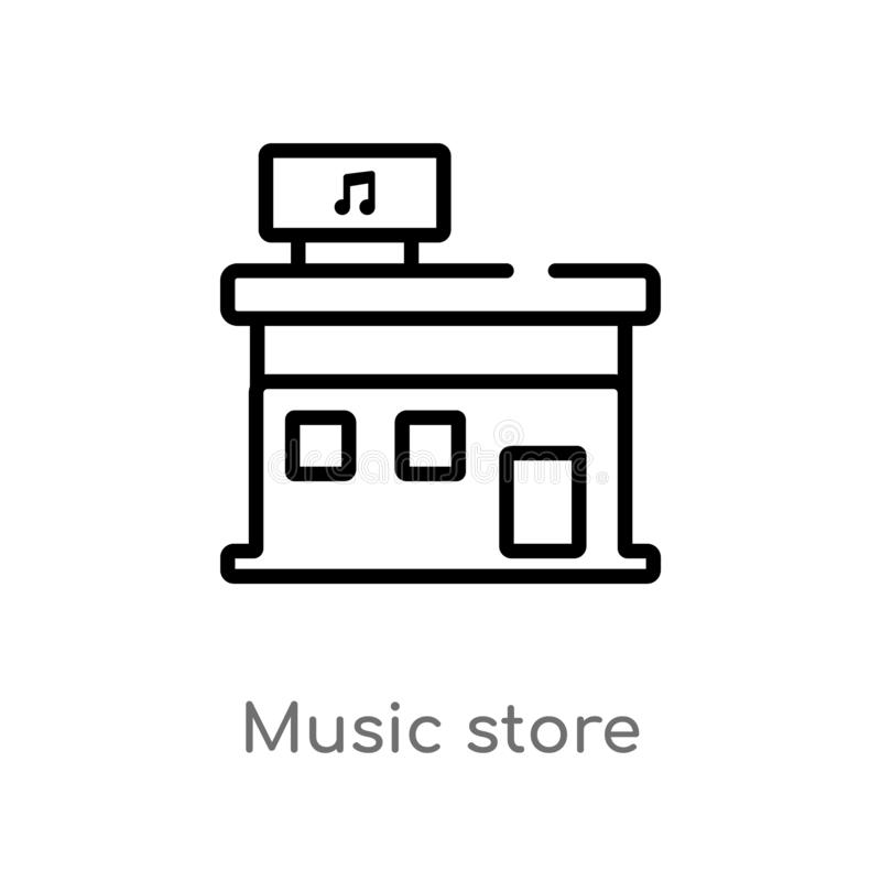 outline music store vector icon. isolated black simple line element illustration from music concept. editable vector stroke music stock illustration