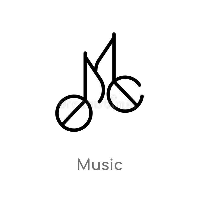 Outline music vector icon. isolated black simple line element illustration from brazilia concept. editable vector stroke music stock illustration