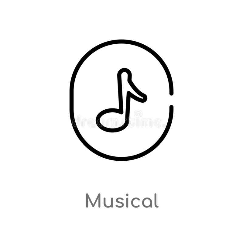 outline musical vector icon. isolated black simple line element illustration from user interface concept. editable vector stroke royalty free illustration