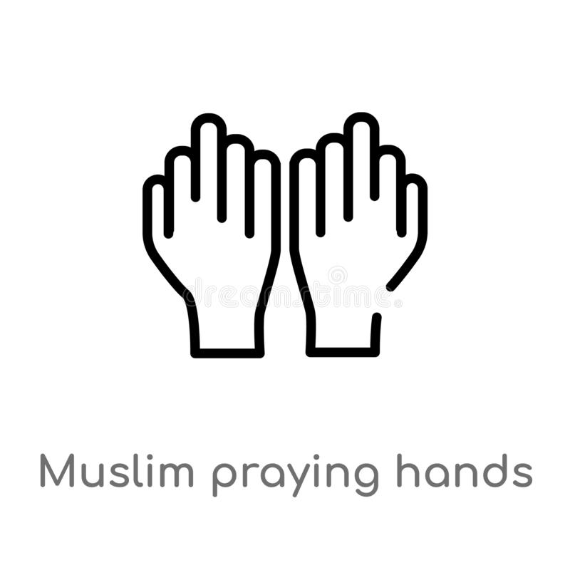outline muslim praying hands vector icon. isolated black simple line element illustration from religion-2 concept. editable vector stock illustration
