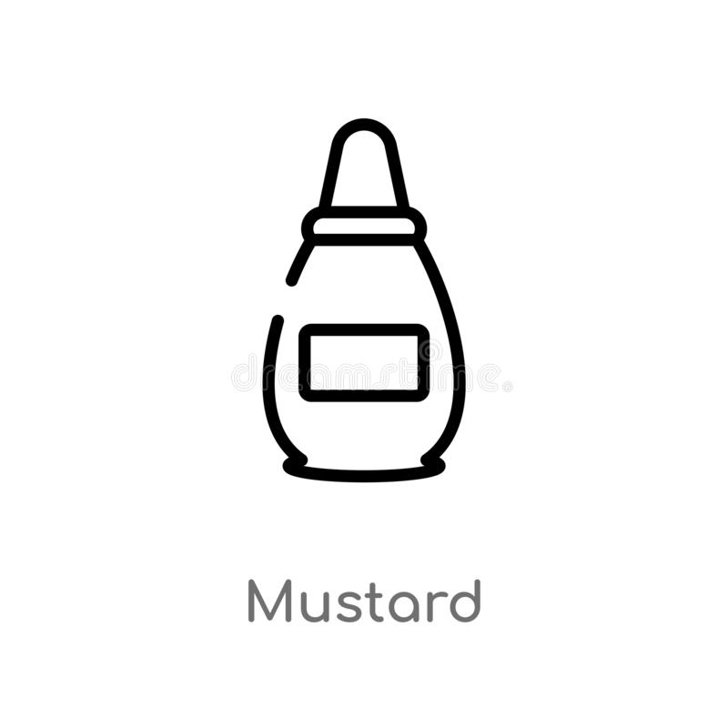Outline mustard vector icon. isolated black simple line element illustration from gastronomy concept. editable vector stroke. Mustard icon on white background royalty free illustration
