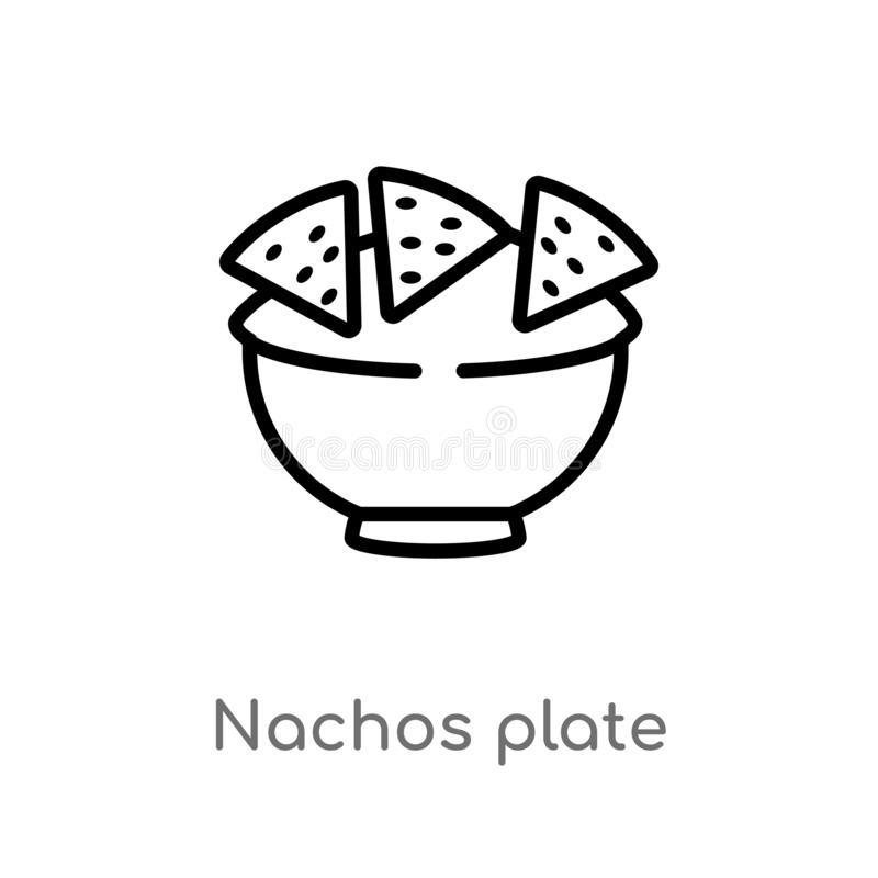 outline nachos plate vector icon. isolated black simple line element illustration from bistro and restaurant concept. editable stock illustration