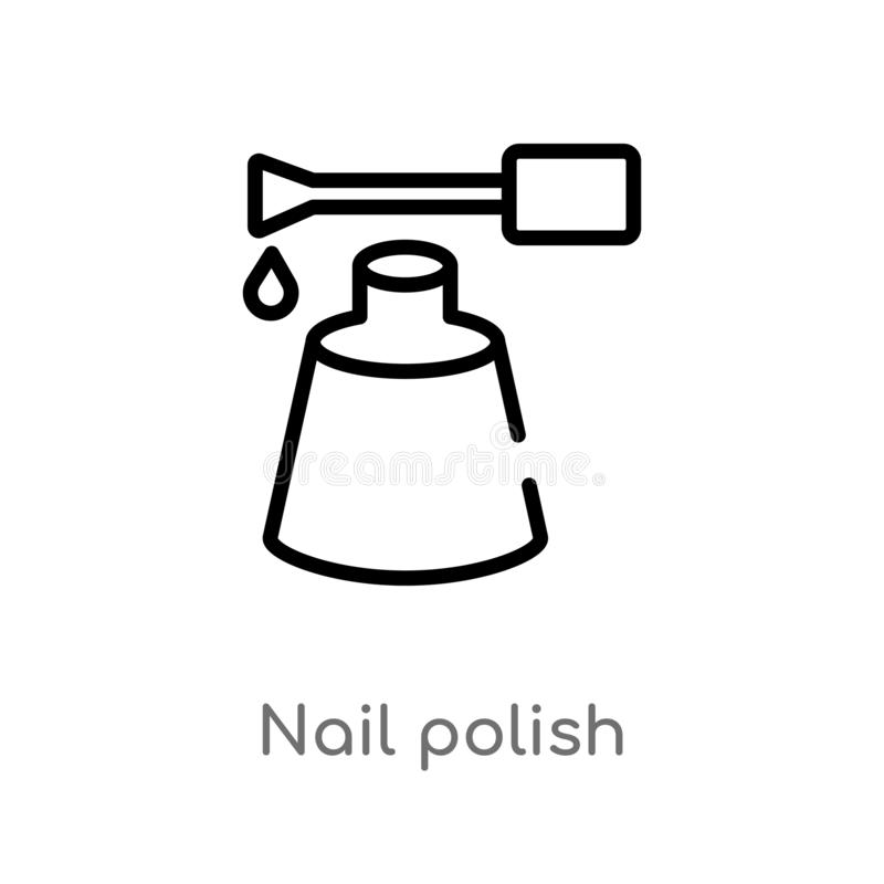 outline nail polish vector icon. isolated black simple line element illustration from beauty concept. editable vector stroke nail stock illustration