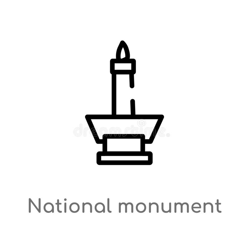 outline national monument monas vector icon. isolated black simple line element illustration from monuments concept. editable royalty free illustration