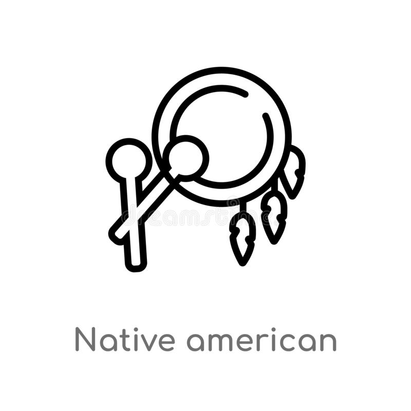 outline native american drum vector icon. isolated black simple line element illustration from culture concept. editable vector royalty free illustration