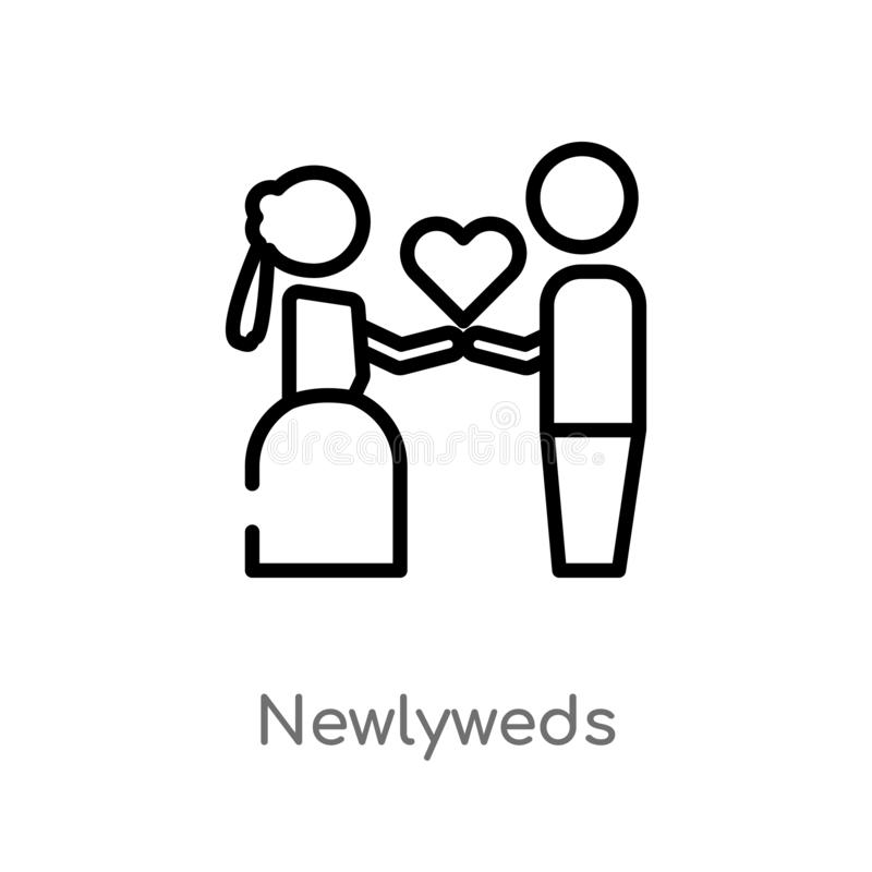 outline newlyweds vector icon. isolated black simple line element illustration from birthday party and wedding concept. editable vector illustration