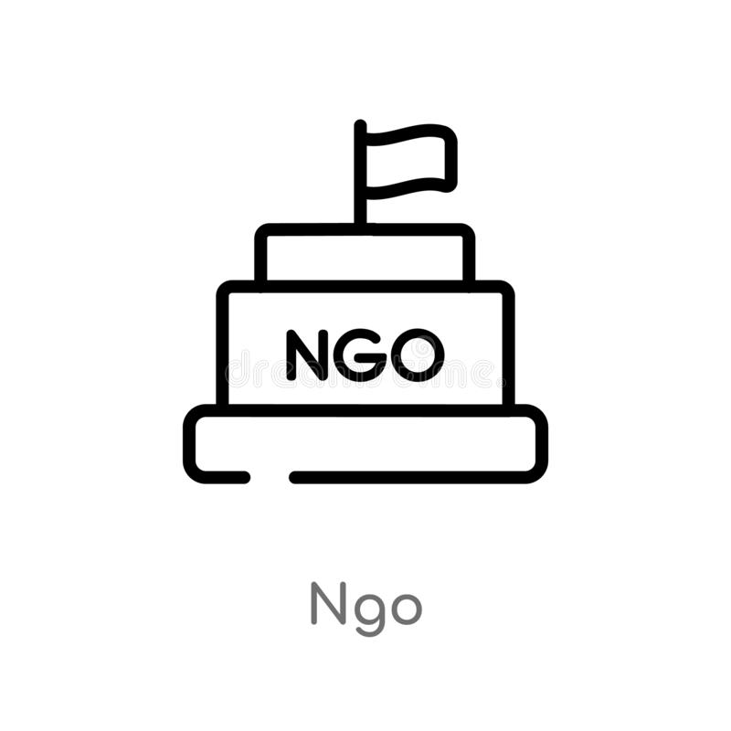 outline ngo vector icon. isolated black simple line element illustration from political concept. editable vector stroke ngo icon royalty free illustration