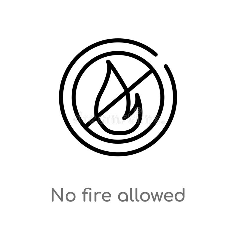 outline no fire allowed vector icon. isolated black simple line element illustration from signs concept. editable vector stroke no royalty free illustration