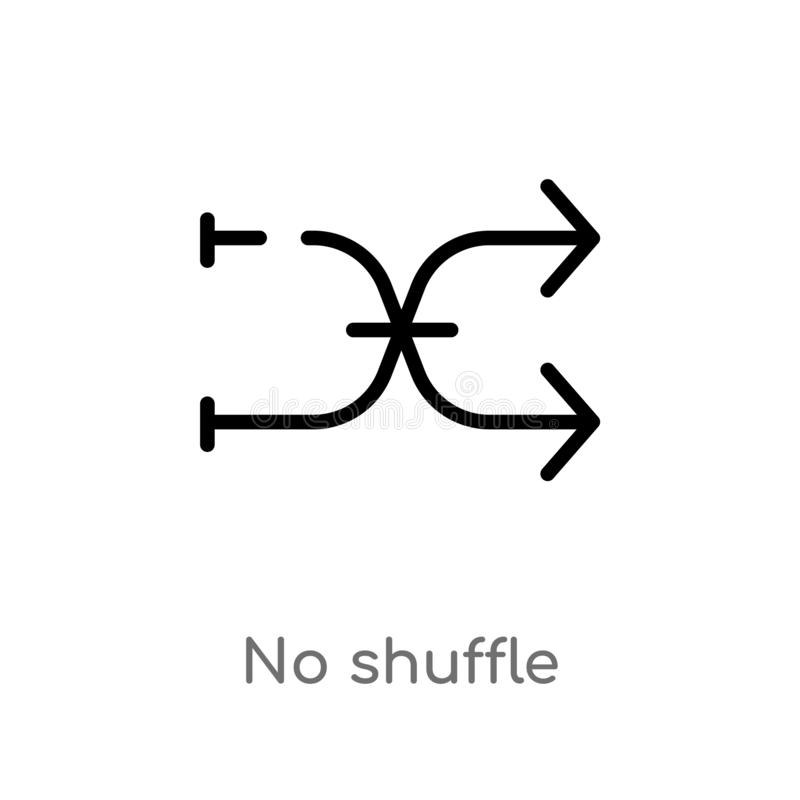 Outline no shuffle vector icon. isolated black simple line element illustration from arrows concept. editable vector stroke no. Shuffle icon on white background royalty free illustration