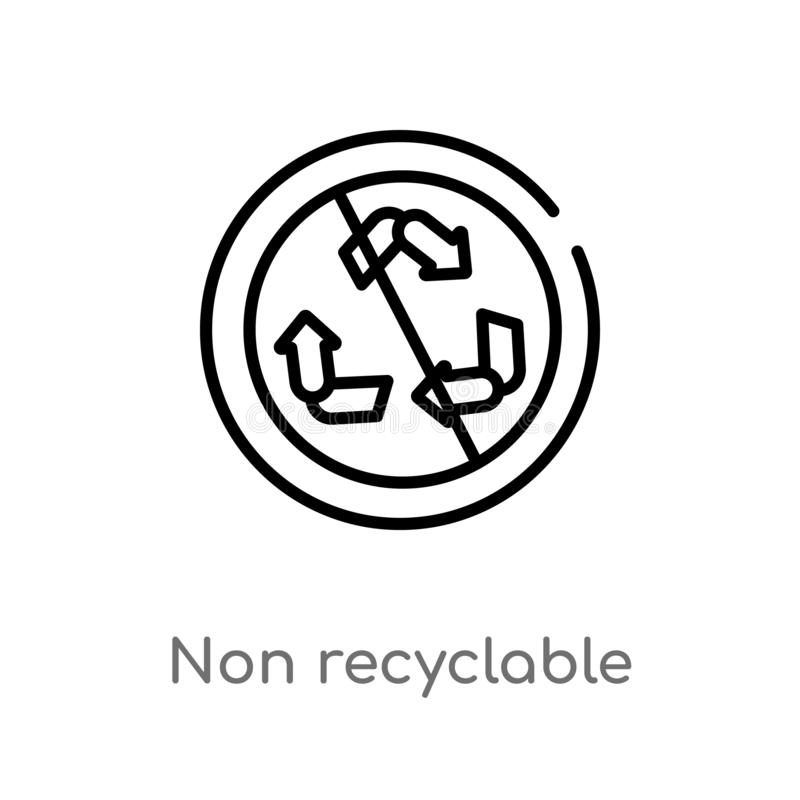 outline non recyclable vector icon. isolated black simple line element illustration from shapes concept. editable vector stroke royalty free illustration