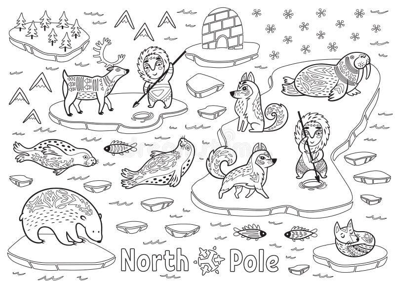 Outline North Pole animals, eskimos and yurt vector illustration