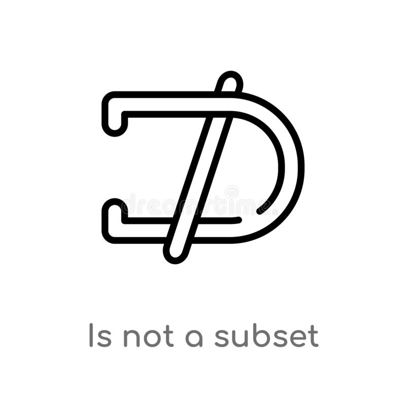 outline is not a subset vector icon. isolated black simple line element illustration from signs concept. editable vector stroke is royalty free illustration