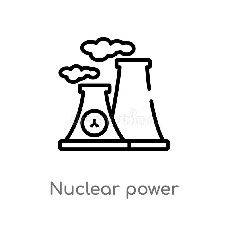 outline nuclear power vector icon. isolated black simple line element illustration from ecology concept. editable vector stroke royalty free illustration