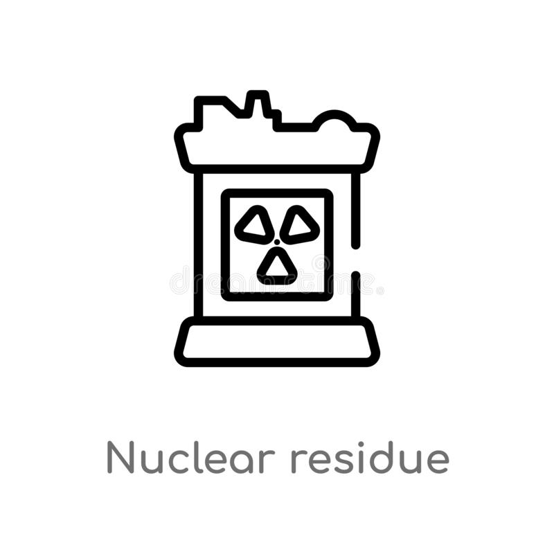 outline nuclear residue vector icon. isolated black simple line element illustration from industry concept. editable vector stroke royalty free illustration