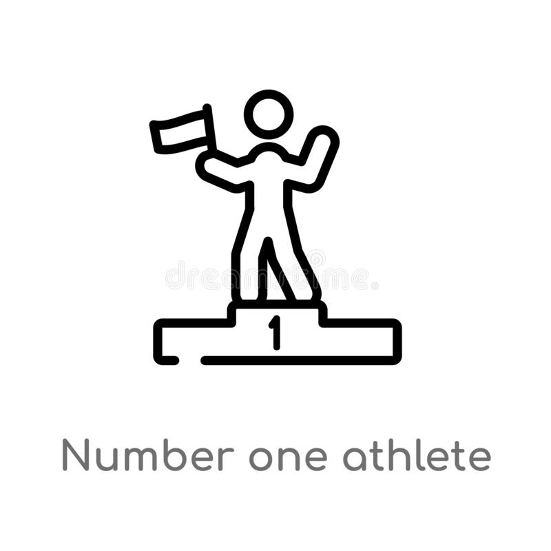 Outline number one athlete vector icon. isolated black simple line element illustration from sports concept. editable vector. Stroke number one athlete icon on royalty free illustration