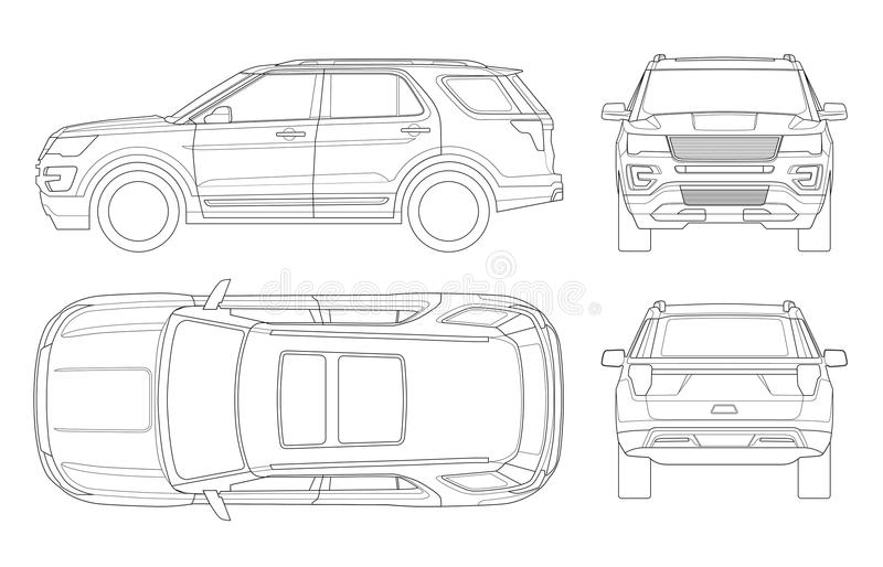 Outline Off-road write car or Modern VIP transport. vector illustration