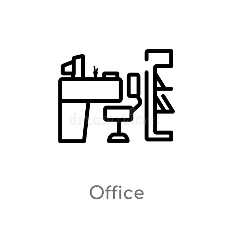 outline office vector icon. isolated black simple line element illustration from job resume concept. editable vector stroke office vector illustration