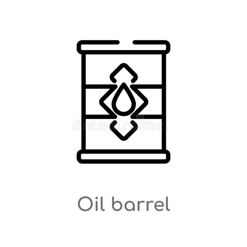 Outline oil barrel vector icon. isolated black simple line element illustration from industry concept. editable vector stroke oil. Barrel icon on white royalty free illustration