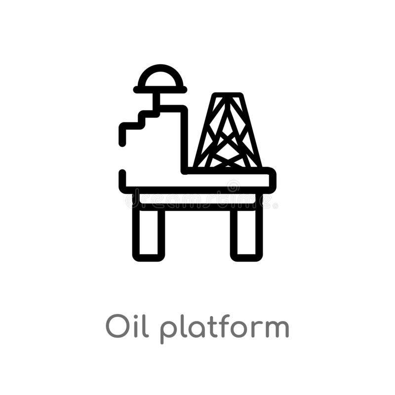 Outline oil platform vector icon. isolated black simple line element illustration from industry concept. editable vector stroke. Oil platform icon on white royalty free illustration