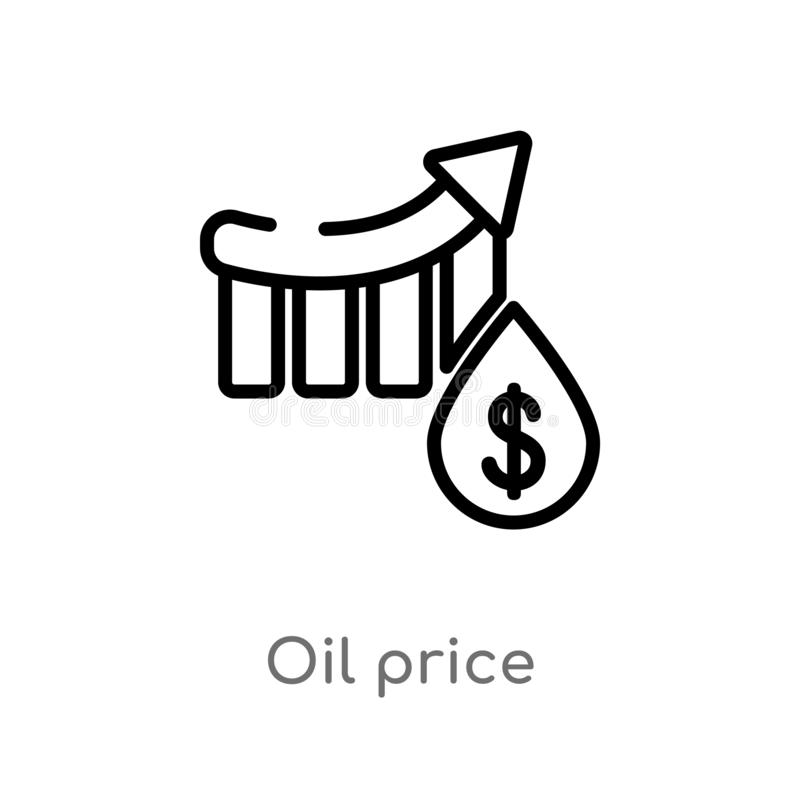 Outline oil price vector icon. isolated black simple line element illustration from industry concept. editable vector stroke oil. Price icon on white background royalty free illustration