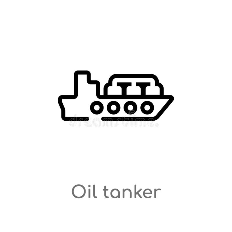 Outline oil tanker vector icon. isolated black simple line element illustration from industry concept. editable vector stroke oil. Tanker icon on white stock illustration