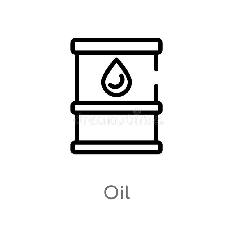 Outline oil vector icon. isolated black simple line element illustration from industry concept. editable vector stroke oil icon on. White background royalty free illustration