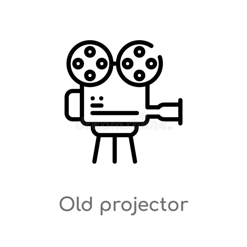 outline old projector vector icon. isolated black simple line element illustration from cinema concept. editable vector stroke old vector illustration