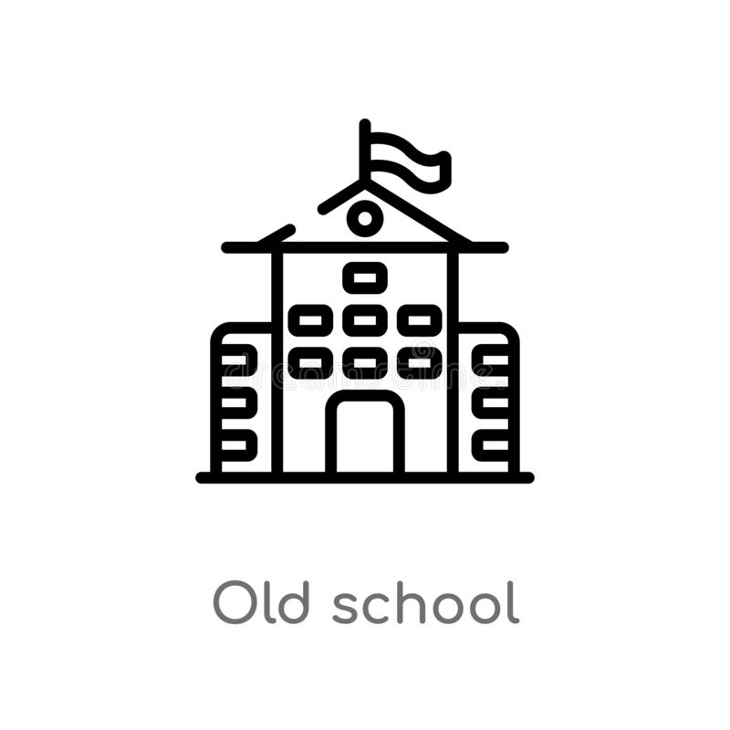 Outline old school vector icon. isolated black simple line element illustration from education concept. editable vector stroke old. School icon on white vector illustration