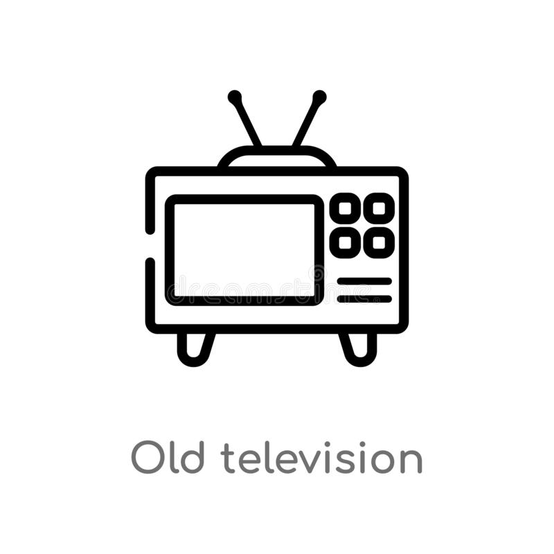 outline old television vector icon. isolated black simple line element illustration from technology concept. editable vector vector illustration
