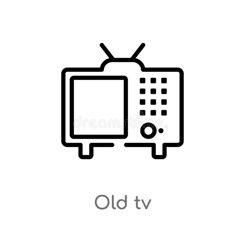 outline old tv vector icon. isolated black simple line element illustration from technology concept. editable vector stroke old tv royalty free illustration